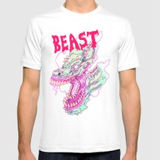 BOTTOMLESS BEAST X-LARGE White Mens Fitted Tee