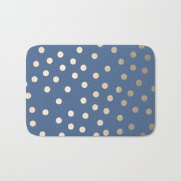 Simply Dots White Gold Sands on Aegean Blue Bath Mat