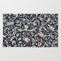 bedding Area & Throw Rugs featuring Navy Garden - floral doodle pattern in cream, dark red & blue by micklyn
