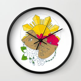 Drama Mask Philippine Sun Hibiscus Sampaguita Flower Mono Line Wall Clock