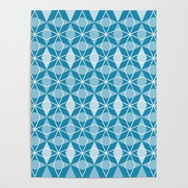 Rhombus Pattern, Pacific Blue Poster