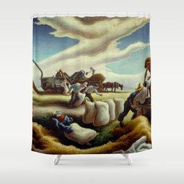 Classical Masterpiece 'Sugar Cane' by Thomas Hart Benton Shower Curtain