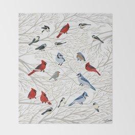 Winter Birds Throw Blanket