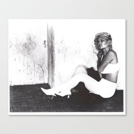 Michél - wall, sitting (black and white photography, fashion model) Canvas Print