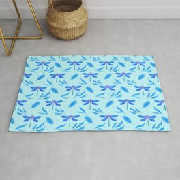 Pretty beautiful dragonflies, little leaves elegant stylish light baby blue nature summer pattern Rug
