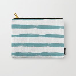 Teal and White Painted Horizontal Stripes Carry-All Pouch