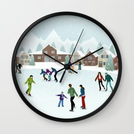 People Skating on the Ice Rink During Winter Wall Clock