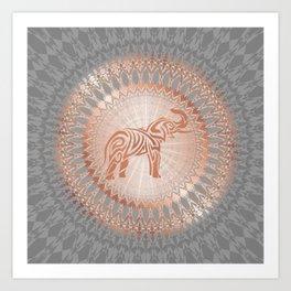 Rose Gold Gray Elephant Mandala Art Print