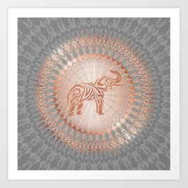 Rose Gold Gray Elephant Mandala Art Print