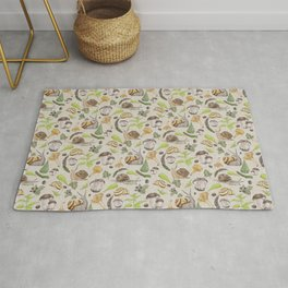 Woodland Snail in Watercolor Fungi Forest, Moss Green and Ochre Earth Animal Pattern Rug