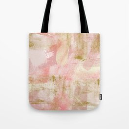 Rustic Gold and Pink Abstract Tote Bag