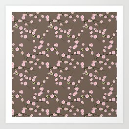 Pink Cherry Blossom Branches on Taupe Art Print