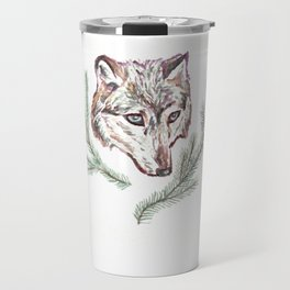 Wolf and Pine Branches Travel Mug