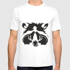 raccoon  White MEDIUM Mens Fitted Tee