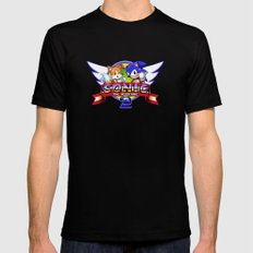 Sonic and Tails Black LARGE Mens Fitted Tee