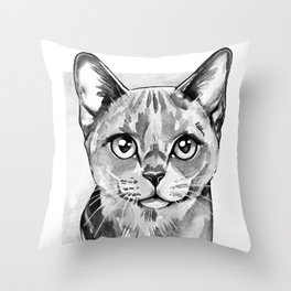 Cat portrait in Black and White Throw Pillow