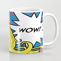 dc comics Mugs featuring comics  by mark ashkenazi