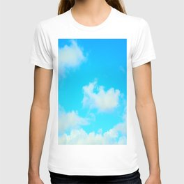White Clouds Bright Blue Sky T-shirt