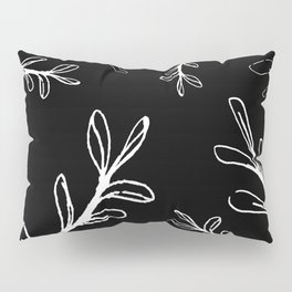 Random Growth White Branches on Black Background Pillow Sham