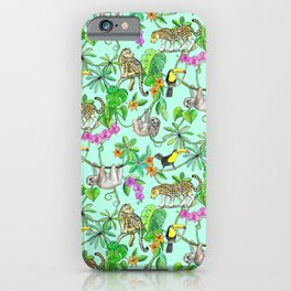 Rainforest Friends - watercolor animals on mint green iPhone Case