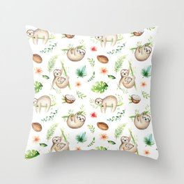 Tropical Sloths Pattern Throw Pillow