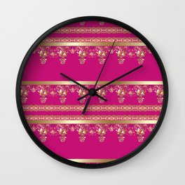 East Arabic Golden ornament .Crimson background . Wall Clock