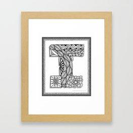 Zentangle I Monogram Alphabet Initial Framed Art Print