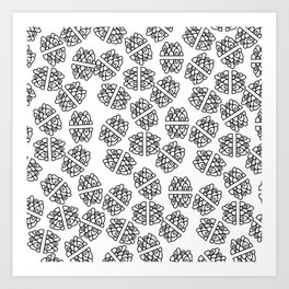 Abstract hand painted modern black geometrical pattern Art Print