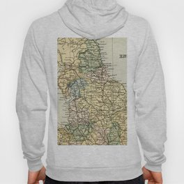 North England and Wales Vintage Map Hoody
