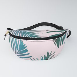Green Palm Leaves on Light Pink Fanny Pack