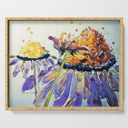 Poppin Purple Echinacea watercolor by CheyAnne Sexton Serving Tray