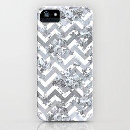 Vintage chic elegant blue gray white geometrical floral pattern iPhone Case