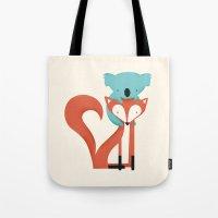 koala Tote Bags featuring Fox & Koala by Jay Fleck