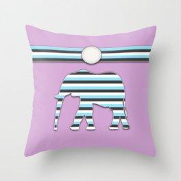 Elephant Blue Stripes Animal Design Pattern Throw Pillow