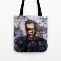 christopher walken Tote Bags featuring Christopher Walken Terminator by Jay Gidwitz