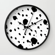 Ink Drops Black and White Wall Clock