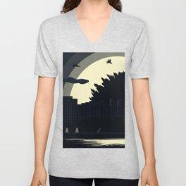 Godzilla Landscape Background Unisex V-Neck