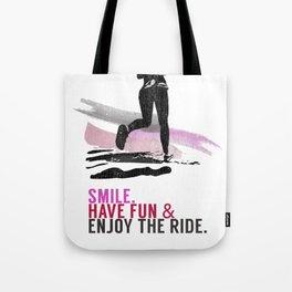 Woman running with a smile Tote Bag