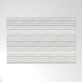 Watercolor Stripes Hues of Grey by Friztin Welcome Mat