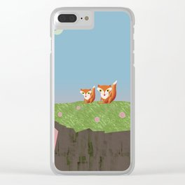 Mama Fox and Kit at Twilight Clear iPhone Case