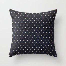 Navy Gold Polka Dots Pattern Throw Pillow