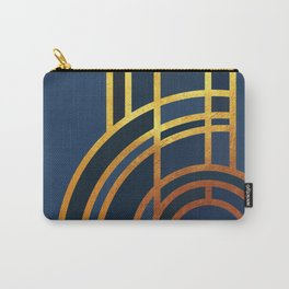 Art Deco Morning Sun In Navy Blue Carry-All Pouch