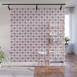 Playing Cards Pattern Pink Grey on White Wall Mural