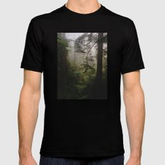 Foggy Forest Black Mens Fitted Tee MEDIUM
