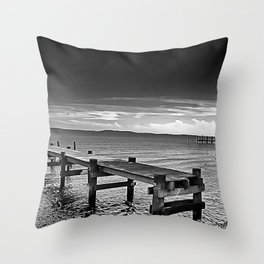 Susquehanna Piers in Black and White, Havre de Grace, Maryland  Throw Pillow