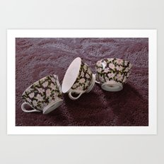 Pink Flowered Teacups Art Print