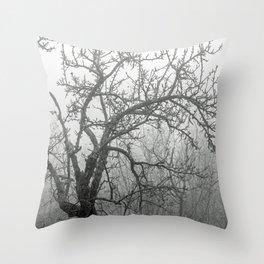 Black and white naked tree Throw Pillow
