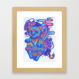 Psychedelic Kitty Framed Art Print