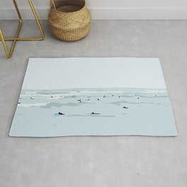 Tiny Surfers in Lima Illustrated Rug