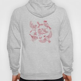 Winter Birds and Foliage Pattern (Red) Hoody